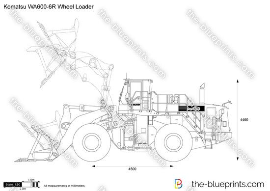 Komatsu WA600-6R Wheel Loader vector drawing