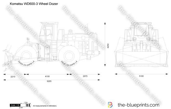 Komatsu WD600-3 Wheel Dozer vector drawing