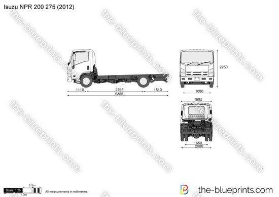 Isuzu NPR 200 275 vector drawing