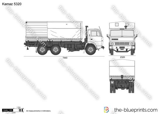 Kamaz 5320 vector drawing