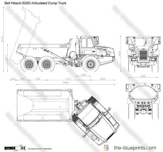 Bell Hitachi B25D Articulated Dump Truck vector drawing