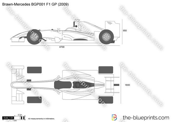 Brawn-Mercedes BGP001 F1 GP vector drawing