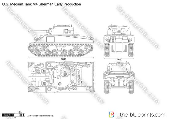 U.S. Medium Tank M4 Sherman Early Production vector drawing