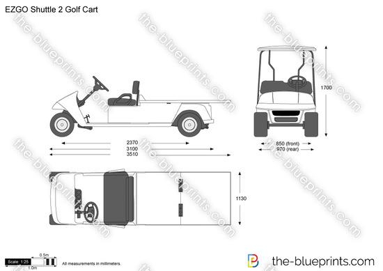 EZGO Shuttle 2 Golf Cart vector drawing