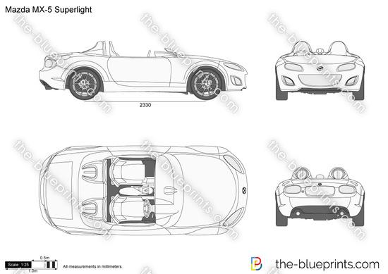 Mazda MX-5 Superlight vector drawing