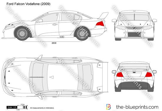 Ford Falcon Vodafone vector drawing