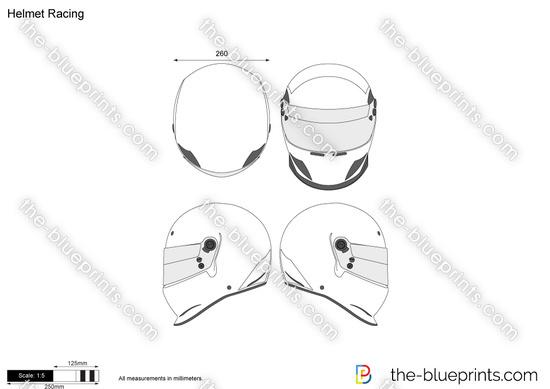 Helmet Racing vector drawing