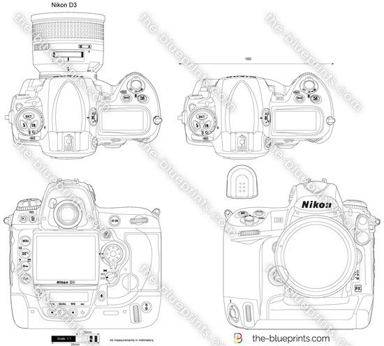Nikon D3 vector drawing