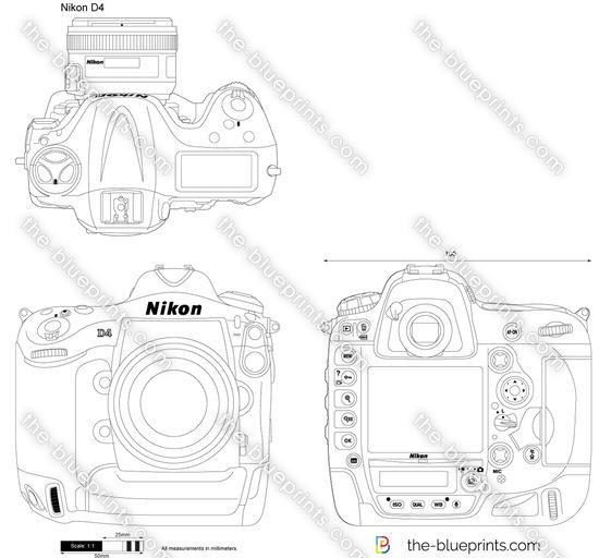 Nikon D4 vector drawing