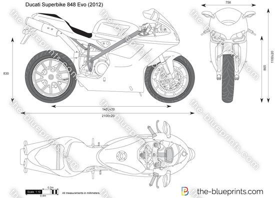 Ducati Superbike 848 Evo vector drawing