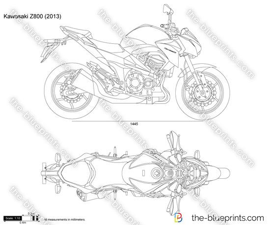 Kawasaki Z800 vector drawing
