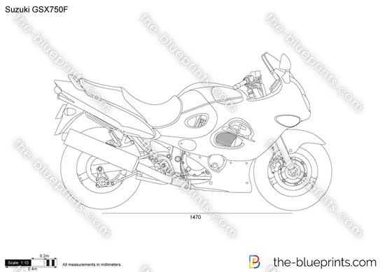Suzuki GSX750F vector drawing