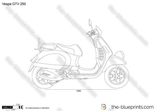 Vespa GTV 250 vector drawing