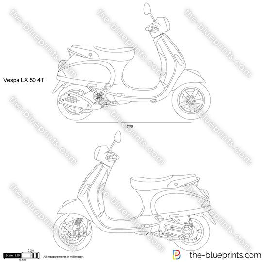 Vespa LX 50 4T vector drawing