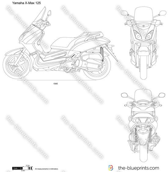 Yamaha X-Max 125 vector drawing