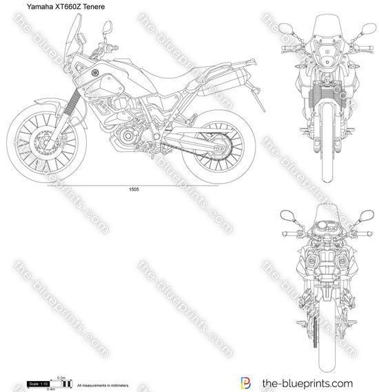 Yamaha XT660Z Tenere vector drawing