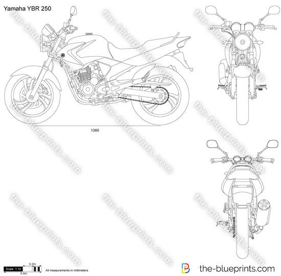 Yamaha YBR 250 vector drawing