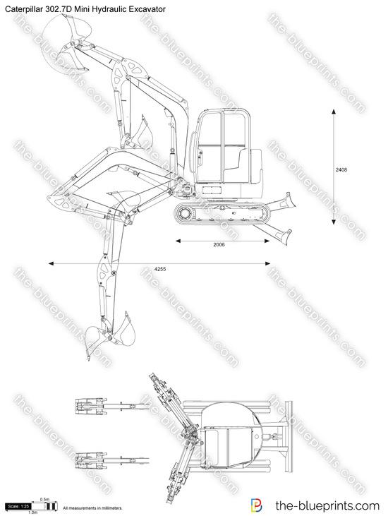 Caterpillar 302.7D Mini Hydraulic Excavator vector drawing