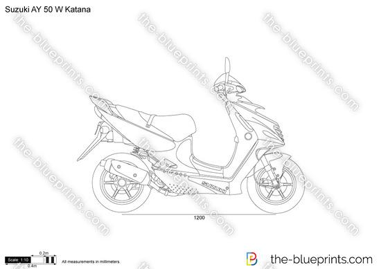 Suzuki AY 50 W Katana vector drawing