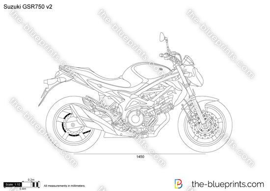Suzuki GSR750 v2 vector drawing