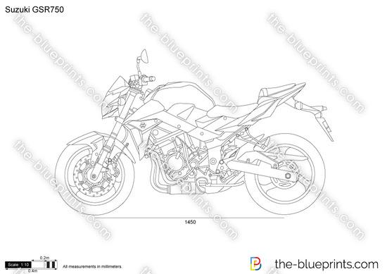 Suzuki GSR750 vector drawing