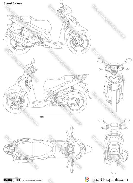 Suzuki Sixteen vector drawing