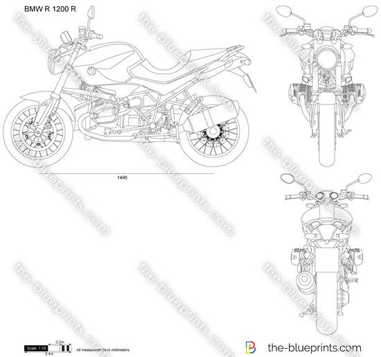 BMW R 1200 R vector drawing