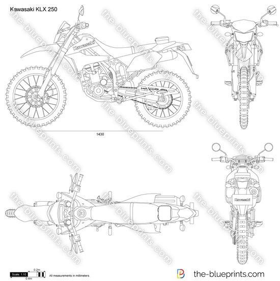 Kawasaki KLX 250 vector drawing