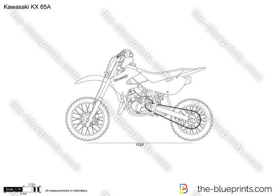 Kawasaki KX 65A vector drawing