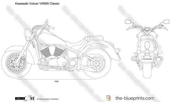 Kawasaki Vulcan VN900 Classic vector drawing