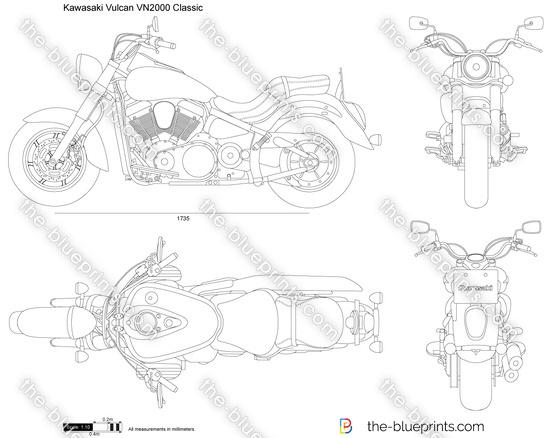 Kawasaki Vulcan VN2000 Classic vector drawing