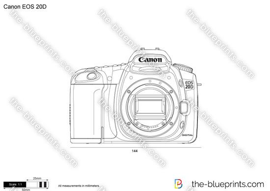 Canon EOS 20D vector drawing