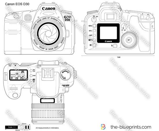 Canon EOS D30 vector drawing