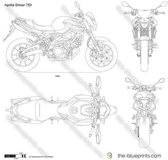 Aprilia Shiver 750 vector drawing