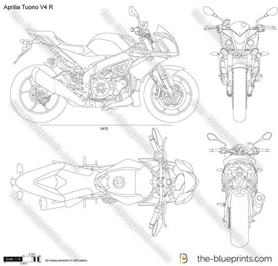 Aprilia Tuono V4 R vector drawing