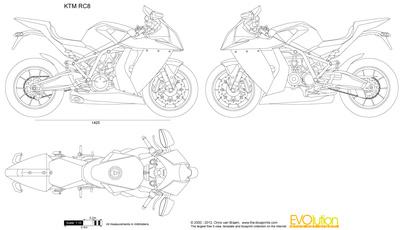 KTM 1190 RC8 vector drawing