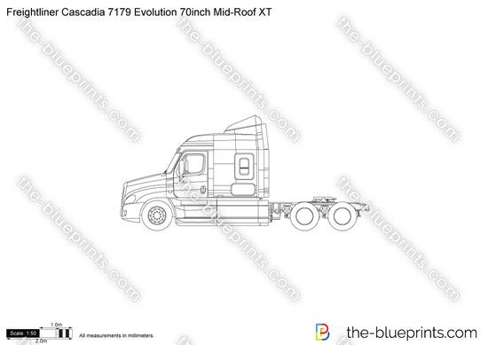 Freightliner Cascadia 7179 Evolution 70inch Mid-Roof XT