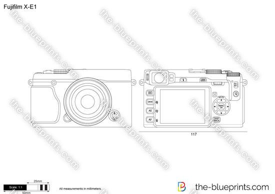 Fujifilm X-E1 vector drawing