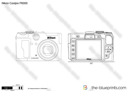 Nikon Coolpix P6000 vector drawing