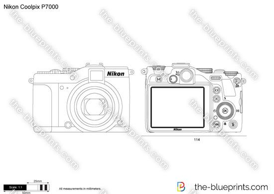 Nikon Coolpix P7000 vector drawing