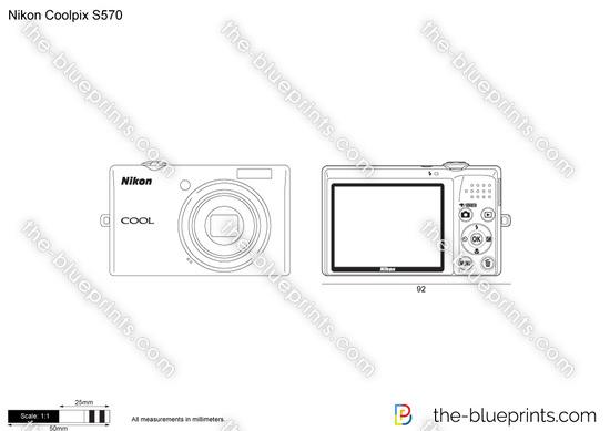 Nikon Coolpix S570 vector drawing