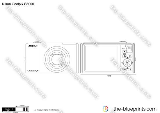 Nikon Coolpix S8000 vector drawing