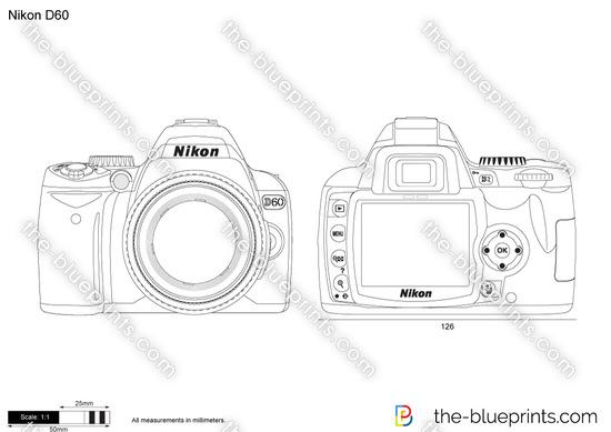 Nikon D60 vector drawing