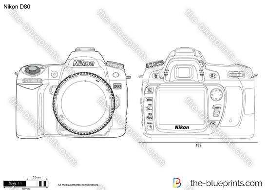Nikon D80 vector drawing