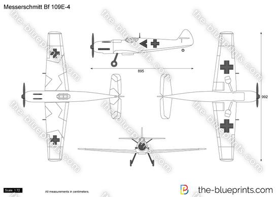 Messerschmitt Bf 109E-4 vector drawing