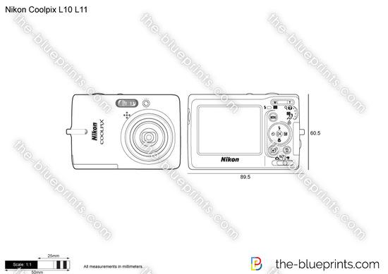 Nikon Coolpix L10 L11 vector drawing
