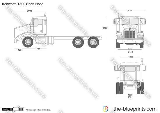 Kenworth T800 Short Hood vector drawing