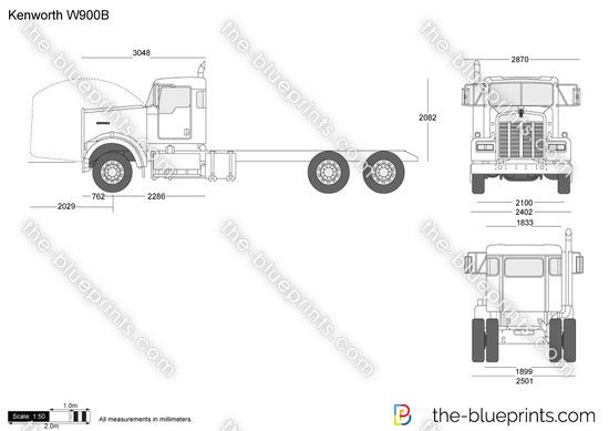 Kenworth W900B vector drawing
