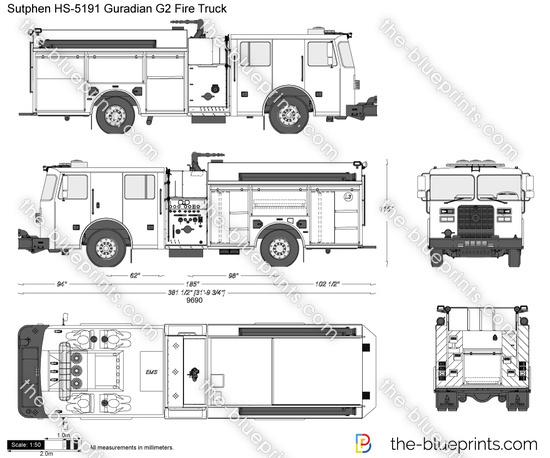 Sutphen HS-5191 Guradian G2 Fire Truck vector drawing