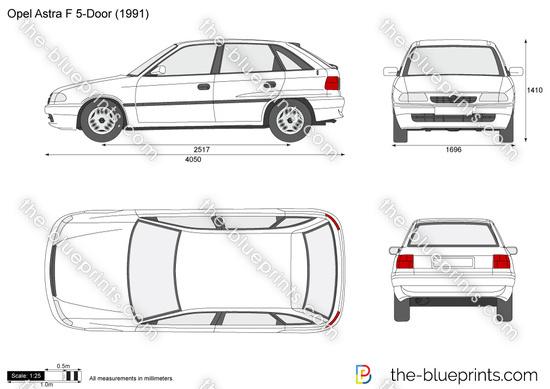 Opel Astra F 5-Door vector drawing